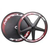 MIRACLE Tubular Carbon wheels 3K Matte front 5 Spokes Track/Fixed gear wheel Carbon bike Rear disc Road wheel Disc TT wheel|Bicycle Wheel|   -