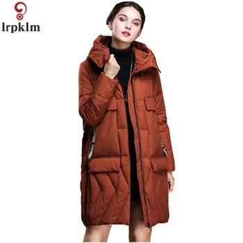 90% White Duck Down Winter Women Hooded Down Jacket  2018 Solid Color Long Warm Big Pocket Coat Down Jacket Women Outwear CH415