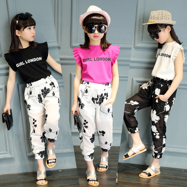 17c3e208fa113 US $16.61 42% OFF Summer 2018 Kids Fashion Girls Clothing Sets 2pcs Blouse  Top & White Black Flowers Pants Set for Teenage Girls Clothes T07-in ...