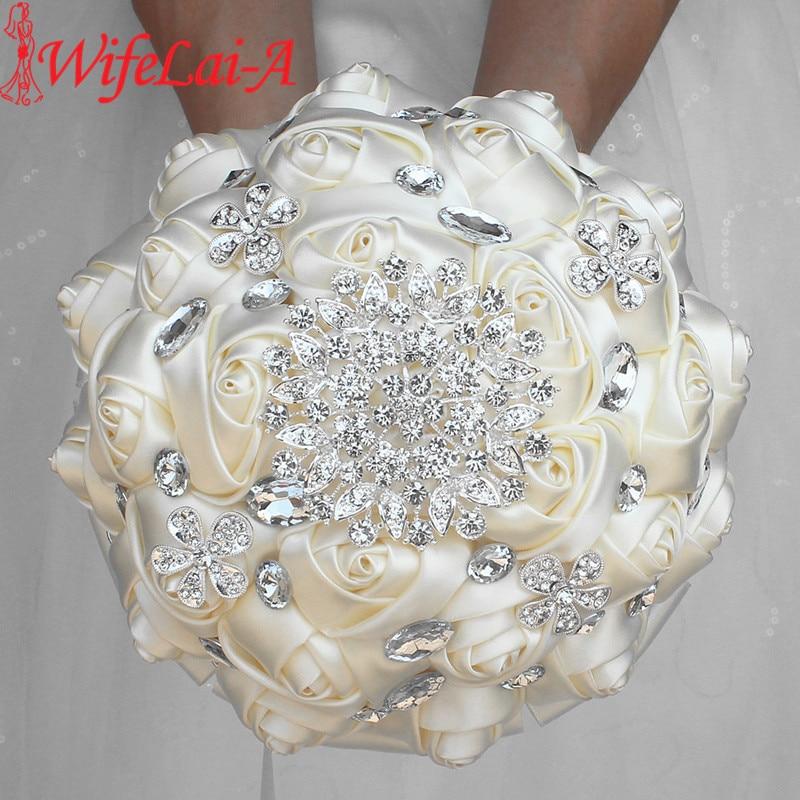 WifeLai-A 1Piece Cream Ivory Artificial Flowers Bridal Brooch Bouquets Stunning Crystal Stitch Bridesmaid Wedding Bouquets W236