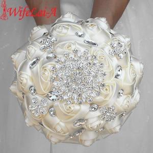 Image 1 - WifeLai A 1Piece Cream Ivory Artificial Flowers Bridal Brooch Bouquets Stunning Crystal Stitch Bridesmaid Wedding Bouquets W236