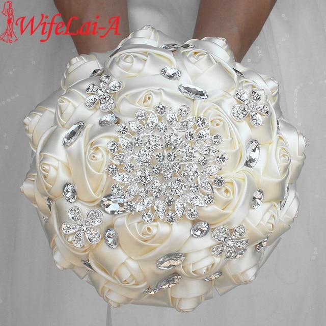 WifeLai A 1Piece Cream Ivory Artificial Flowers Bridal Brooch Bouquets Stunning Crystal Stitch Bridesmaid Wedding Bouquets W236