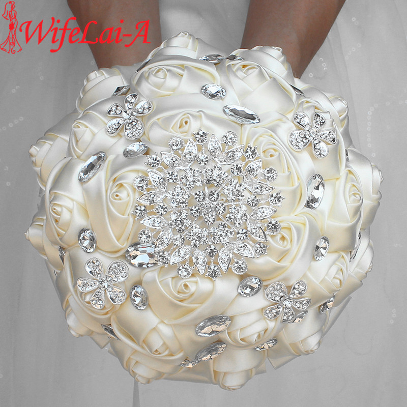 WifeLai-A 1Piece Custom Cream Ivory Artificial Flowers Bridal Bouquets Stunning Crystal Stitch Bridesmaid Wedding Bouquets W236