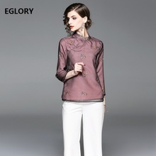 79b977a781 2018 Fashion Tops Autumn Spring Blouses Women Organza Embroidery Vintage Tops  Female Plus Size Tops Blouse