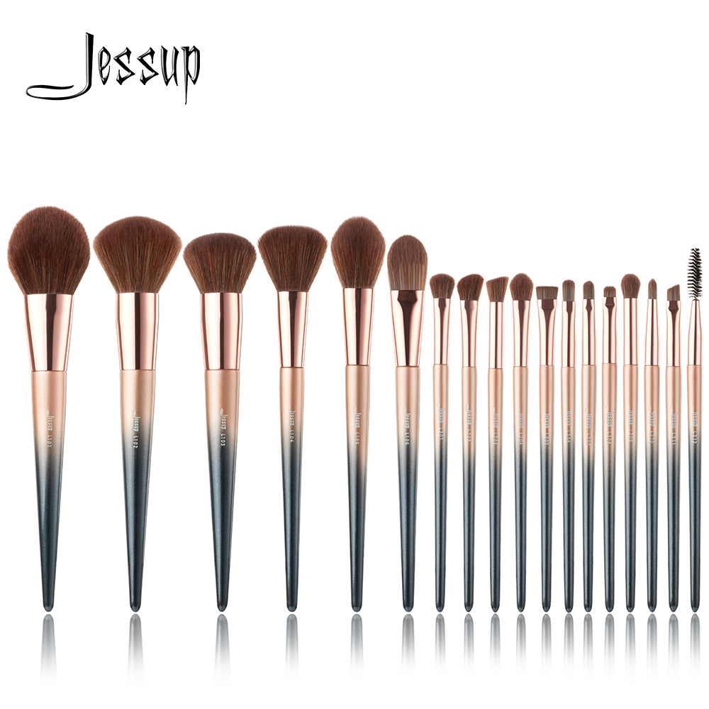 Jessup brushes New 18pcs Starry Black Makeup brushes set Beauty Powder Foundation Precision Pencil eyeshadow Make up brush new jessup brushes 25pcs prussian blue golden sands makeup brushes set beauty tools make up brush powder foundation eyeshadow
