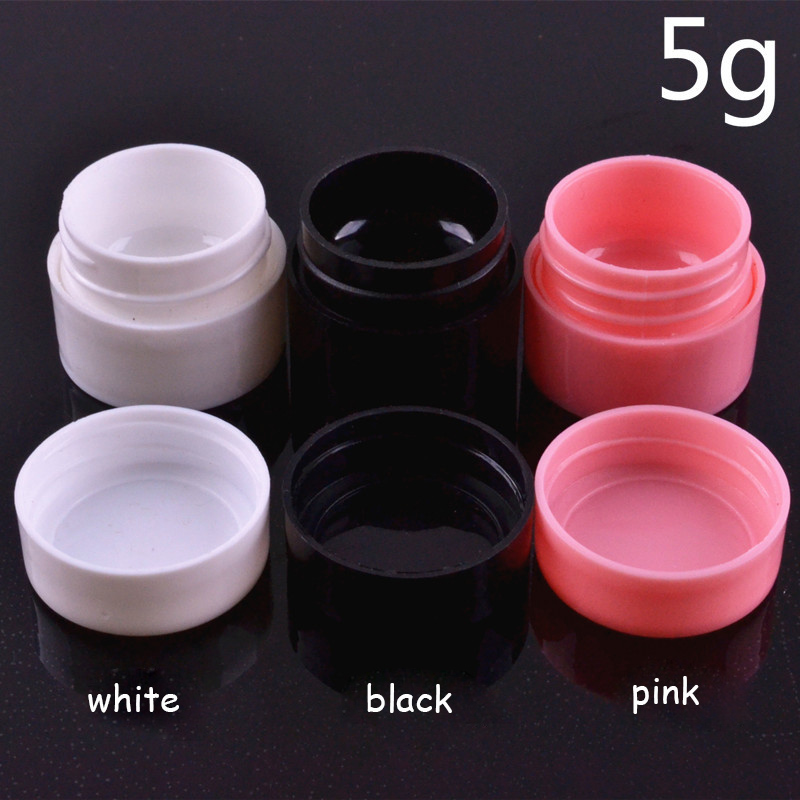 5g Empty Plastic Nail Art Container Cosmetic Jar Small Sample Cream Pot Nail Gel Powder Box Makeup Tool Black White Pink