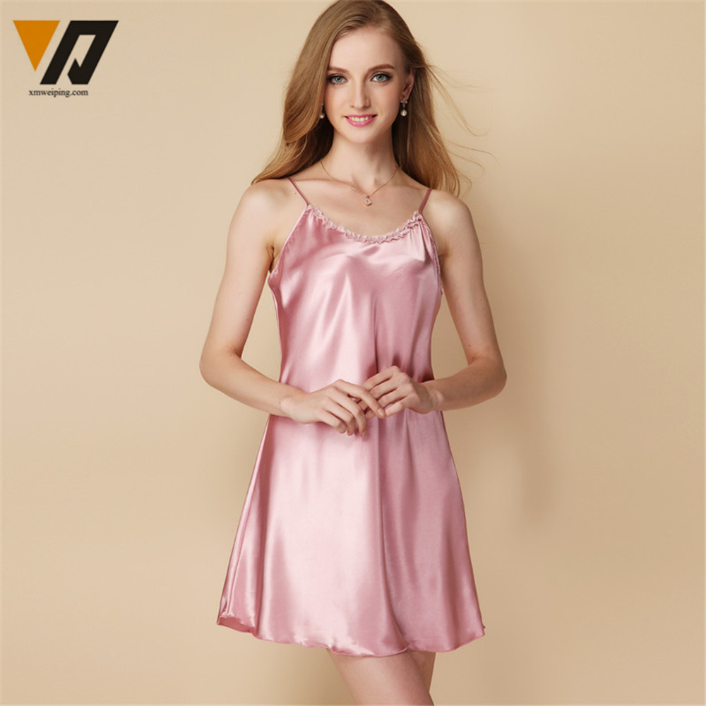 XMWEIPING Women Silk Sleepwear Satin Lingerie Nightdress Robe Summer ...