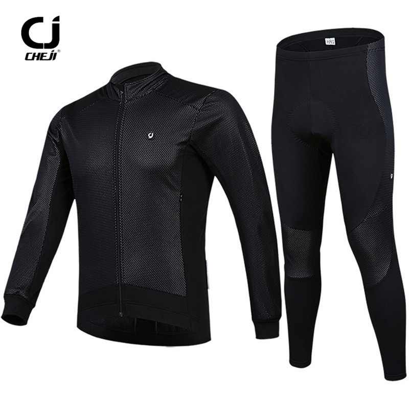 CHEJI Winter Men Cycling Clothing Set Long Sleeve Reflective Fleece Thermal Windproof Waterproof MTB Road Bicycle Cycling Jersey black thermal fleece cycling clothing winter fleece long adequate quality cycling jersey bicycle clothing cc5081