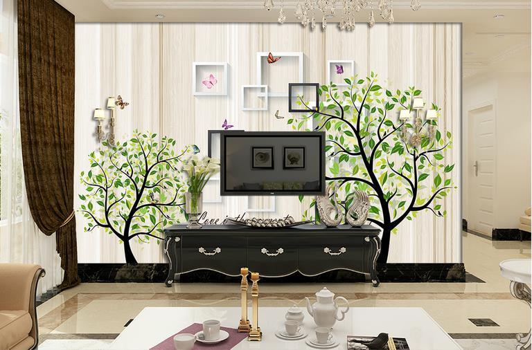 US $14.38 56% OFF|Neue 2018 Moderne einfache 3D Wand aufkleber tapete  wandmalereien baum wohnzimmer TV Sofa Dekorative Hintergrund Wandbild Kunst  ...