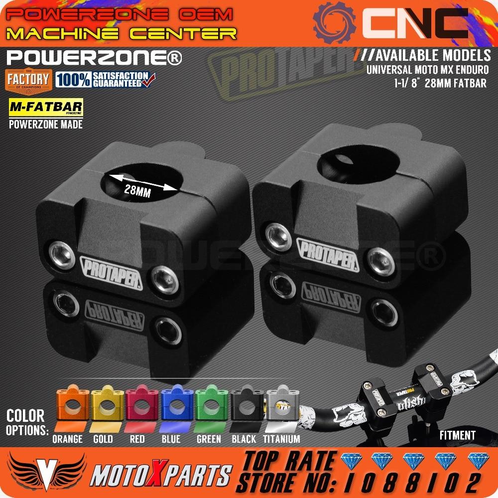 CNC 7//8/'/' 1 1//8/'/' Fat Bar Clamp Bar Risers Taper ATV Dirt Pit Bike Offroad