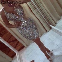 Luxury Heavy BeadsCrystal Short Cocktail Dresses 2019 Champagne Mini Formal Party Gowns Sexy V neck Sheer Nude Tulle Prom Dress