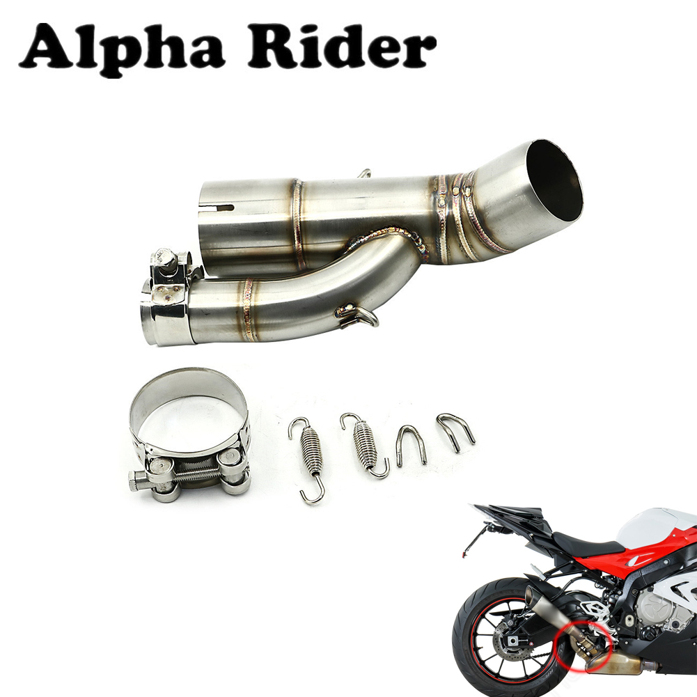 17-18 <font><b>S1000RR</b></font> Motorcycle Slip on <font><b>Exhaust</b></font> Muffler Middle Link Pipe W/ Mounting Parts Stainless Steel For BMW S1000 RR <font><b>2017</b></font> <font><b>2018</b></font> image