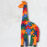 Kids Baby Wooden Dinosaur Puzzle Animal Giraffe 3D Jigsaw English Letters And Numerals Learning Educational Toy