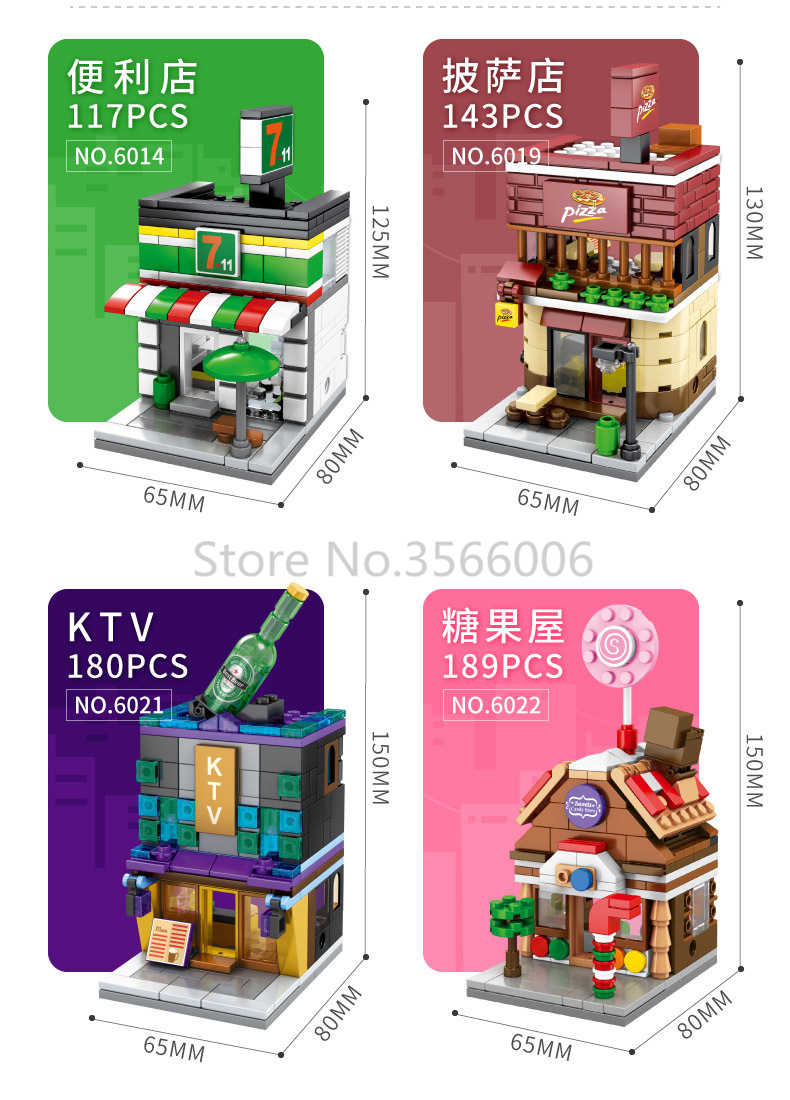 Singolo Mini Strada di Città Serie di Cibo Della Caramella Pizza Ice Cream Shop Libreria MOC Blocchi di Costruzione Per Bambini Giocattoli Educativi