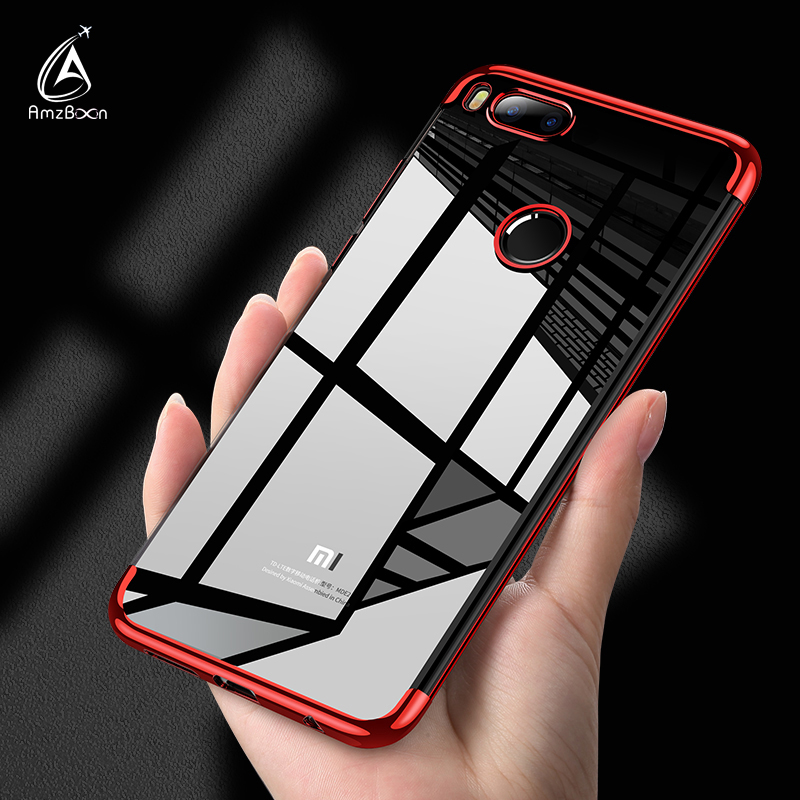 Amzboon case For Xiaomi Mi A1 5X plating soft TPU cases ultra thin transparent shining case for Xiaomi A2 6X Mixed silicon cover