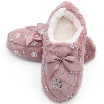 STONE VILLAGE Large Size Bow Snowflake Home Slippers Think Plush Warm Women Slippers Shoes Indoor Slippers Shoes Women 2