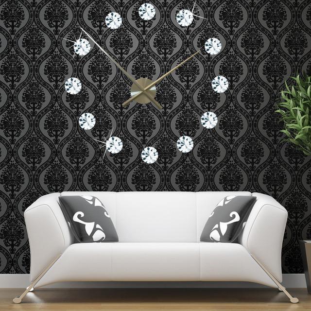 Hot Creative DIY Crystal Wall  Clock Stickers 3D Stereo Simulation of diamonds the Wall Clock Acrylic Clock New Design Clock