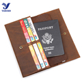 2017 Top Brand Wallet Men Crazy Horse Genuine Cow Leather Long Slim Purse Male Passport Cover Vintage Solid Brown Travel Wallets