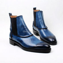 Free Shipping Bespoke Handmade Calf Leather Outsole/Upper/Insole Navy Goodyear Welted Craft Men's Fashion Leather Boot No.a122