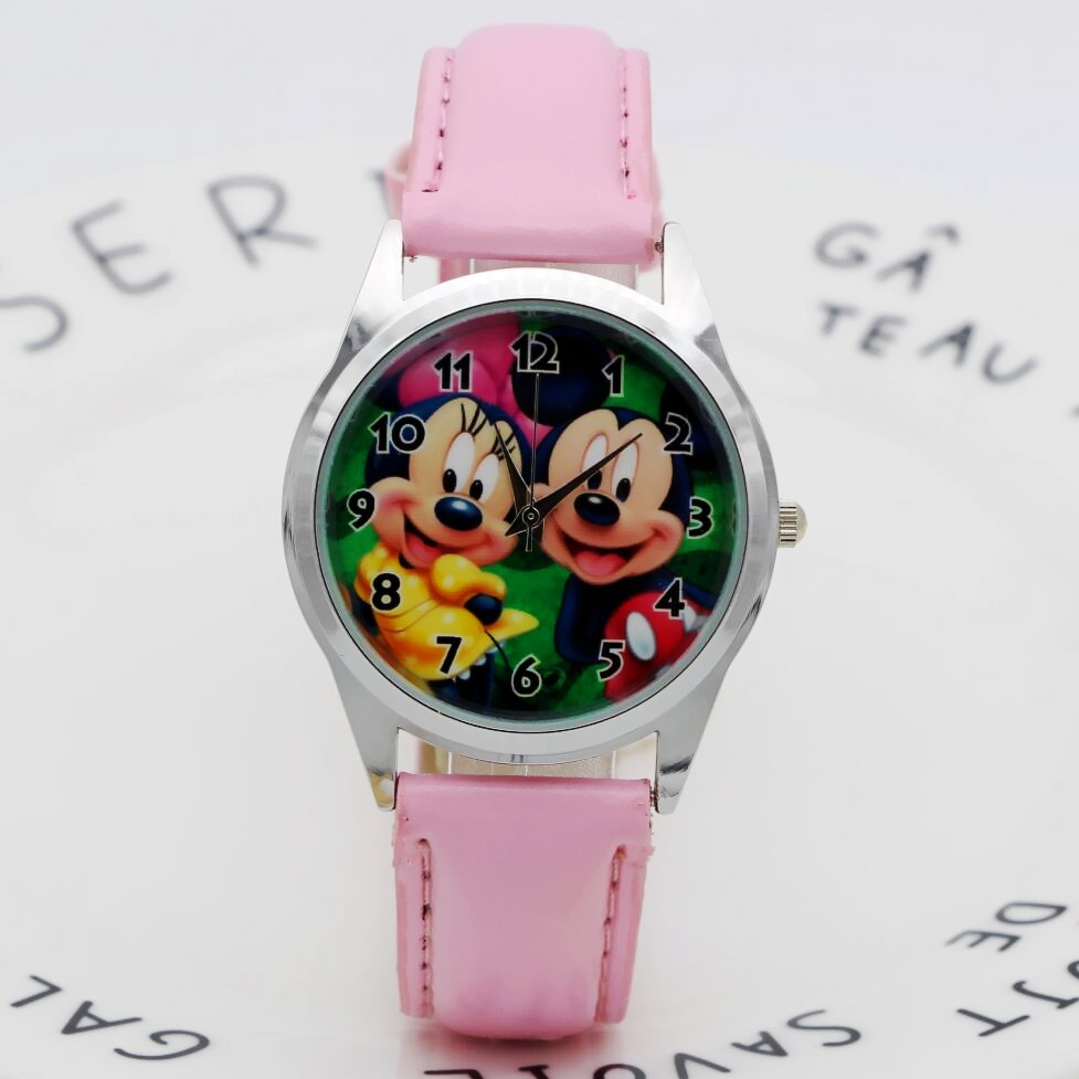 NEW Arrive Cartoon Mickey Minnie Mouse Style Leather Children's Women's Kids Student Boys Girls Quartz Leather Wrist Watch