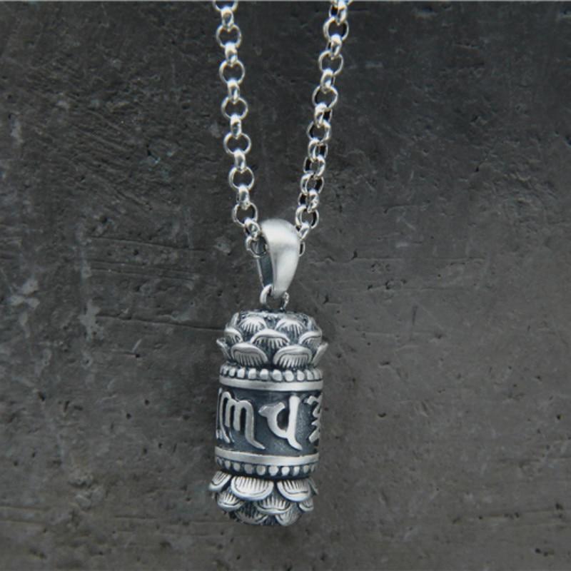 990 Sterling Silver Shurangama Mantra Six Words of Buddha Lotus Gawu Box Pendant For Waterproof Necklace