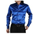 2017 new arrive male loose solid blue casual shirt spring autumn long sleeve rayon velvet men dress shirt  factory wholesale
