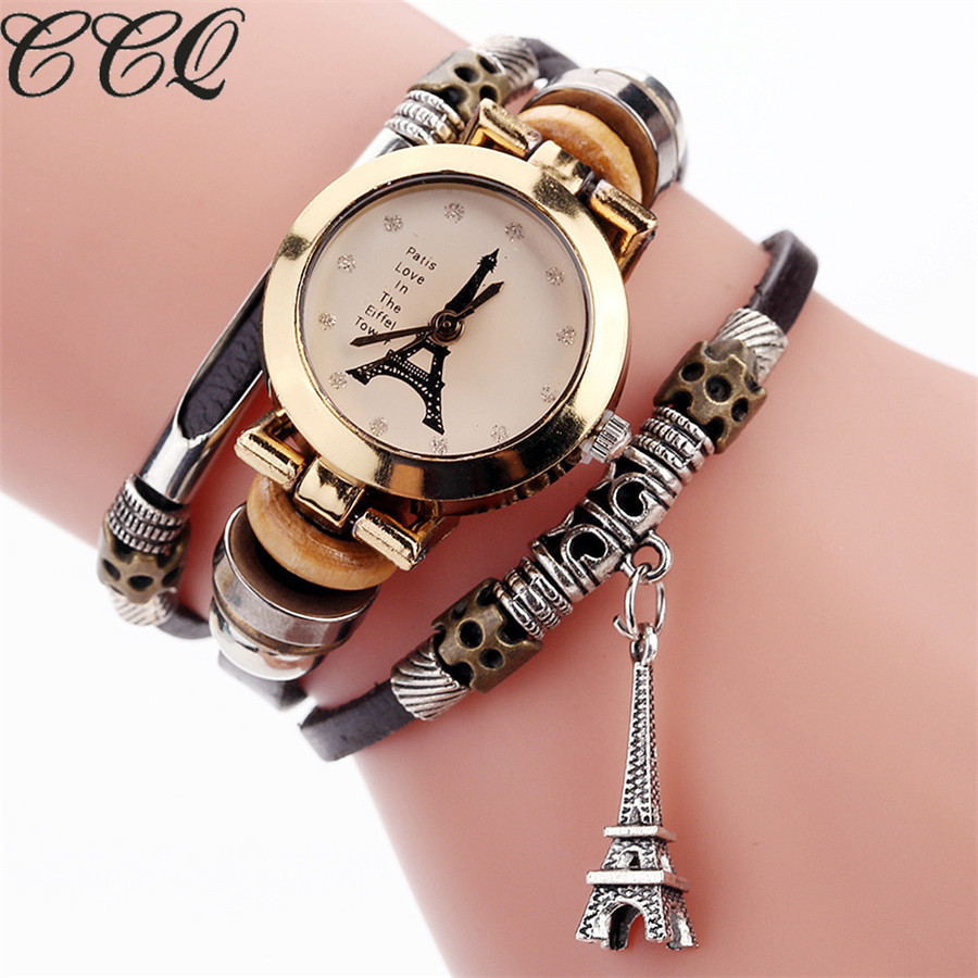 CCQ Fashion Vintage Cow leather Bracelet Eiffel Tower Watches Casual Women Crystal Tower Pendant Quartz Watch Relogio Feminino vintage cow leather eiffel tower watch casual women men leather quartz wristwatches clock montre femme hot selling ccq brand