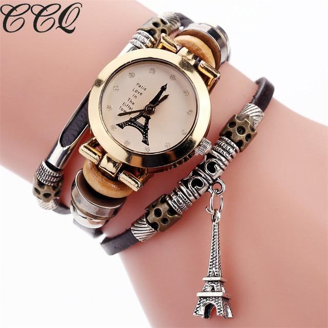 fcd1630f4a9 CCQ Moda Vaca Do Vintage Pulseira de couro Torre Eiffel Relógios Mulheres  Torre De Cristal Pingente