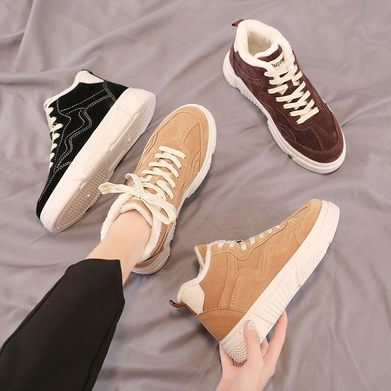 b6413adad4c Invierno naranja Las Mujeres Cuero Femme Zapatos Blancas Gamuza Negro  Casuales marrón Mujer Zapatillas Chaussure Moda ...