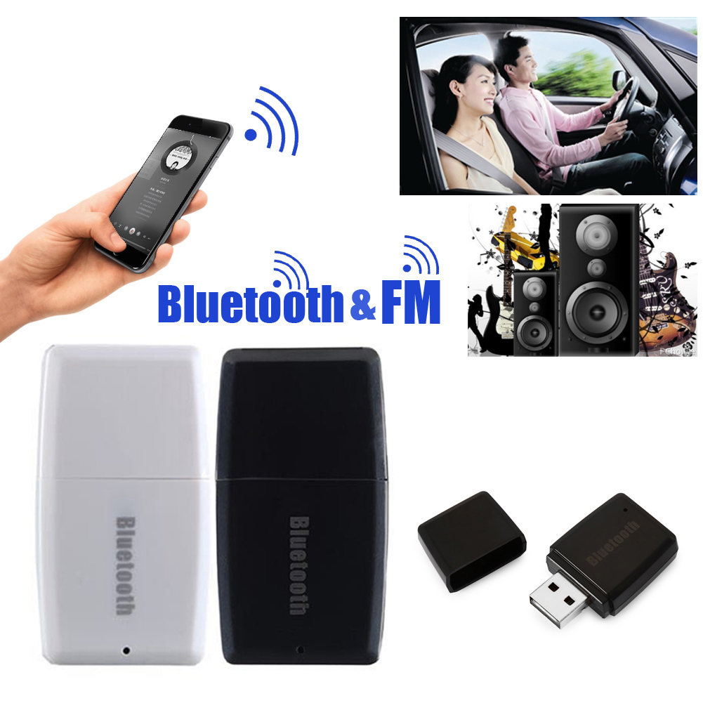 цена на 2 in 1 Wireless Bluetooth V4.1 + EDR 3.5mm Music Audio Receiver A2DP Stereo Car FM Transmitter L3FE