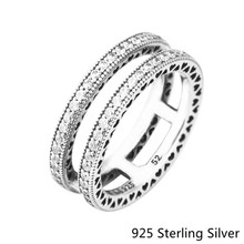 Фотография 2017 New Silver Rings European Style Jewelry 925 Sterling Silver Double Hearts of Ring For Women Original Fashion Charms DIY