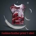 Estilo europeu Harajuku Unicórnio Kawaii 3D Imprimir O pescoço TOPS Moda camisa das Mulheres T 17 Cor NVTX06