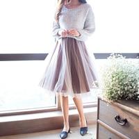 תחרה חמה למכירה חצאית התלקחות ארוך בינוני נשי בלוקי צבע נסיכה מתוק אפורה לבן טוטו חצאיות