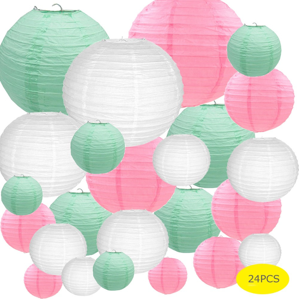 24 Pcs White Pink Mint Green Paper Lantern Chinese Japanese Assorted Size Round Lampion Wedding Baby Shower Xmas Party Decor