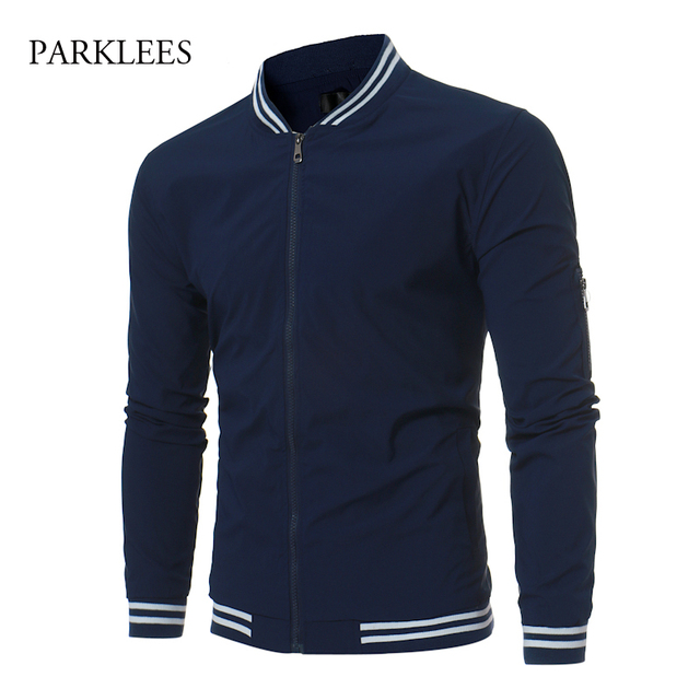 Aliexpress.com : Buy Trend Baseball Jacket Men Navy Blue Blouson ...