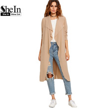 SheIn Ladies Autumn Fashion Long Coats Womens Work Wear Outerwear Camel Draped Collar Lapel Long Sleeve Wrap Coat