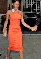 Free Shipping Sexy Party Queen Victoria Beckhams Cross Back Slim Ladies Halter Dress Orange White S