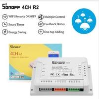 Sonoff 4ch r2  montagem do trilho do ruído do módulo de automação residencial inteligente controle remoto sem fio wifi interruptor inteligente trabalhar com alexa google|Módulos de automação residencial| |  -
