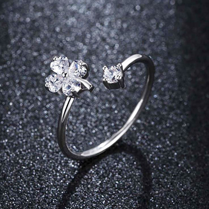 2018 Silver Color Clover CZ Rings Tiny Cubic Zircon Beautiful Phoenix Flower Crystal Ring Women Fashion Party Finger Jewelry