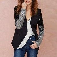 Women Thin Jacket Coat 2015 Work Blazers Suit Spring Autumn Long Sleeve Lapel Silver Black Sequins