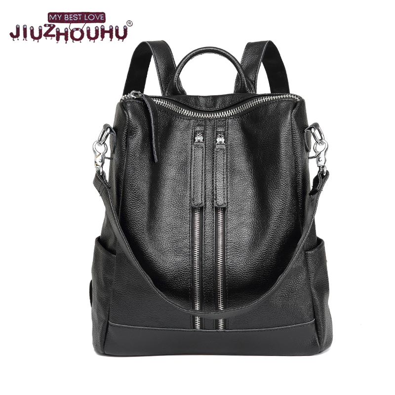 ФОТО 2017 New Arrival Genuine Leather Women Backpack Real leathe Stylish Cool  Lady double strap Bag Daily Backpacks Girl School bag