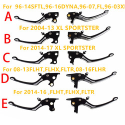 Regulator Clutch & Brake Lever Set Black/Chrome For Harley Sportster 883 1200 Touring Dyna Road King Softail 08-17