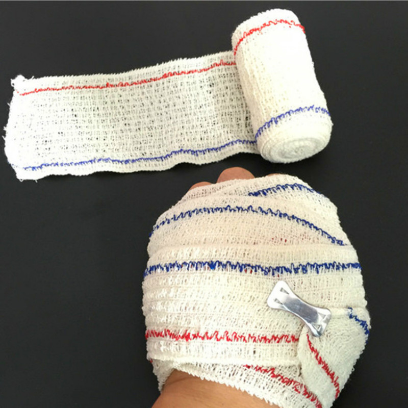 10Pcs Spandex Wrinkles Non-woven Red And Blue Line Elastic Bandage PBT Medical Emergency Wrap Tape First Aid Kit Supplie