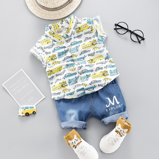 Summer Toddler Boy Cartoon Car Print Clothing Set Children Clothing Short Sleeve Shirt +Jeans For Boys Suit For Kids Clothes