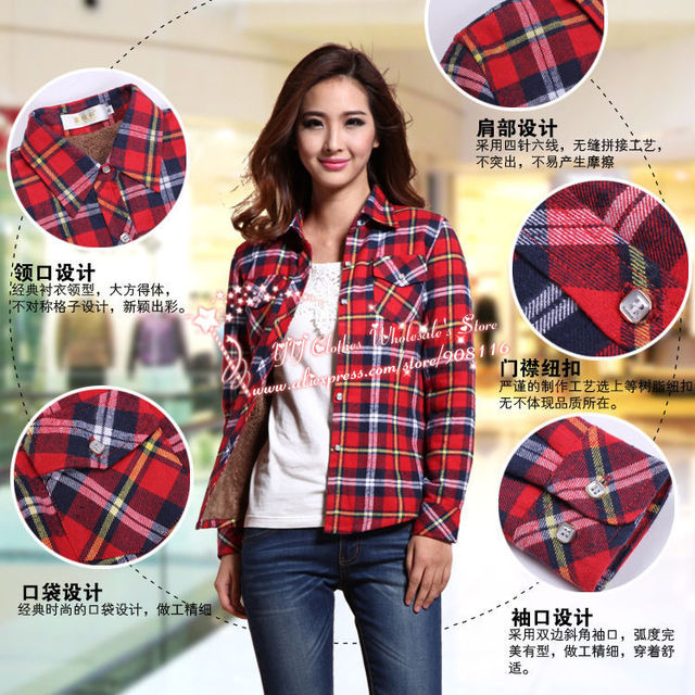 3783fee05b4e72 2013 New Excellent,women Korean Style Long Sleeved Autum/winter Warm  Plaid/checked Blouse,top Shirts,ladies Large Size Blouses