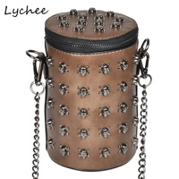 Lychee Gothic Skull Punk Rivets Women S Bags Vintage Shoulder Crossbody Bucket Bag Female Street Style
