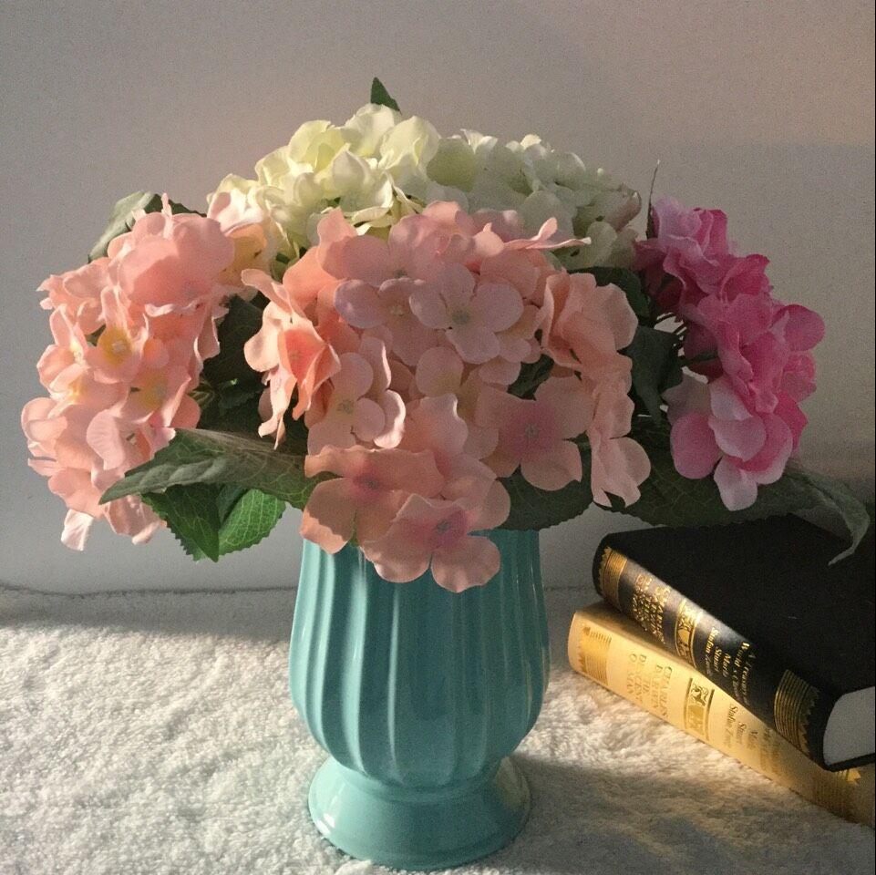 1pc 37cm umetna hortenzija umetno cvetje z zamrznjenimi velikimi - Prazniki in zabave - Fotografija 2