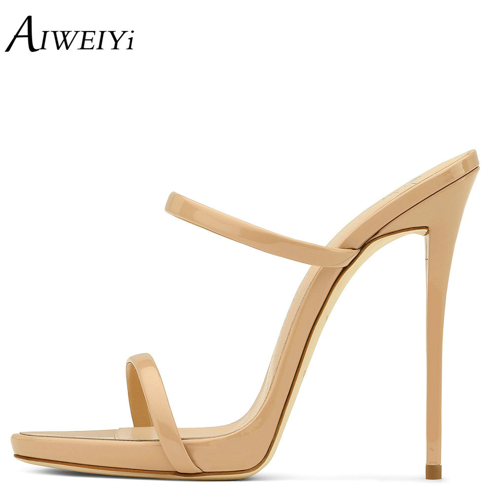 AIWEIYi Women High Heel Sandals 2018 Summer Stilleto Heel Shoes Women For Party Dress Platform Shoes Slip On High Heel Slippers women gladiator sandals gold chains slip on high heel slippers shoes