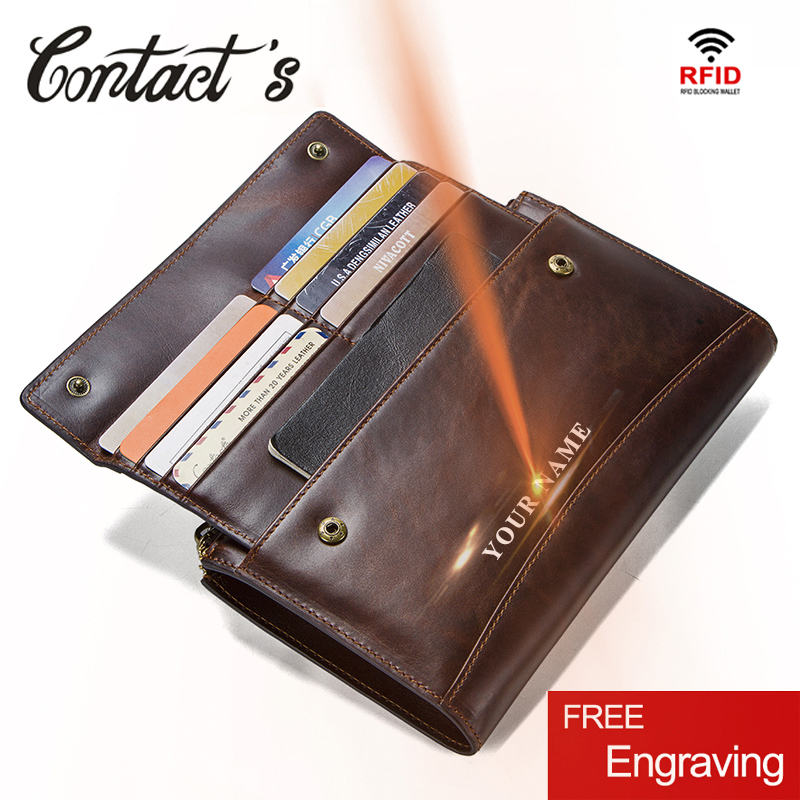 Crazy Horse Genuine Leather Men Wallet Zipper Coin Purse and Card Male Clutch Bag For Cell Phone Brand Designer Long Wallets