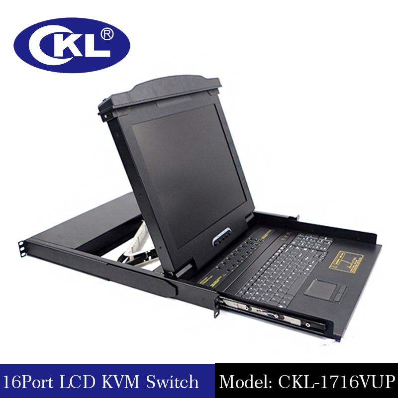 CKL High-end Black 16Port USB And PS/2 LCD KVM Switch with OSD VGA Auto KVM Switcher Rack for Keyboard Mouse Monitor CKL-1716VUP ckl 4 port usb vga kvm switch support audio